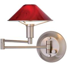 Satin Nickel Magma Red Glass Swing Arm Light
