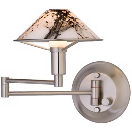 Satin Nickel Marbled Glass Swing Arm Light