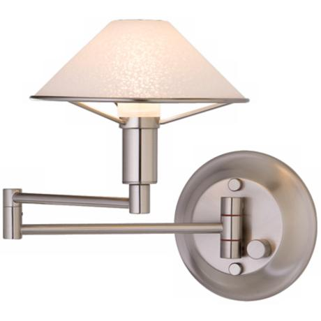 Satin Nickel Satin White Glass Swing Arm Light