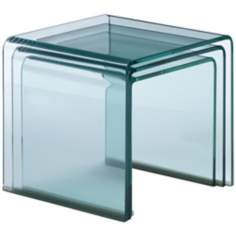 Clear Glass Set of 3 Nesting Tables