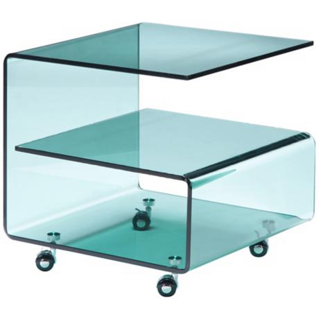 Clear Tempered Glass G Shaped Side Table