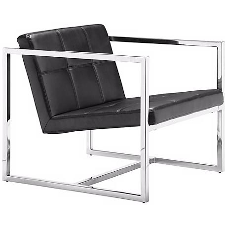 Zuo Carbon Black Leatherette Chrome Frame Chair