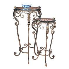 Acanthus Leaf and Glass Set of 2 Nesting Tables