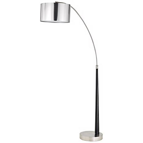 Brushed Steel and Wood Arc Floor Lamp