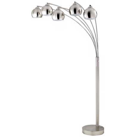 Five Light Arc Brushed Steel Floor Lamp