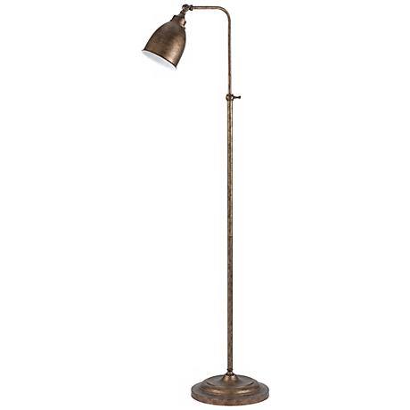 Rust Metal Adjustable Pole Pharmacy Floor Lamp