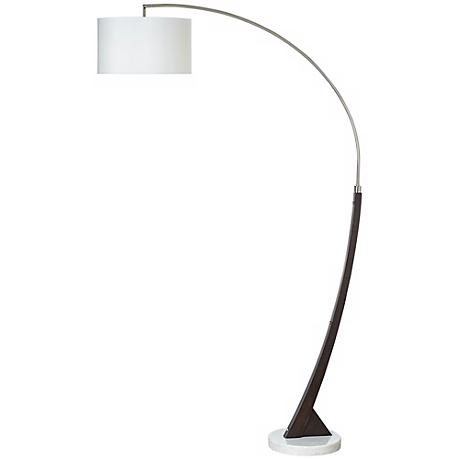 Arc Brushed Steel and Wood Floor Lamp