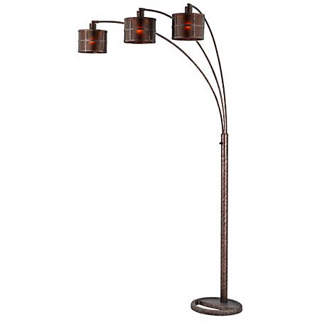 Three Light Arc Rust Floor Lamp