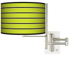 Tempo Bold Lime Green Stripe Plug-in Swing Arm Wall Light