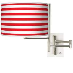 Tempo Red Horizontal Stripe Plug-in Swing Arm Wall Light
