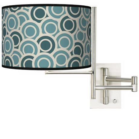 Tempo Blue Green Circles Plug-in Swing Arm Wall Light