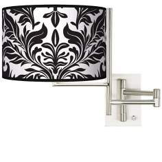 Tempo Black Tapestry Plug-in Swing Arm Wall Light