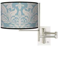 Tempo Ivory Blue Tapestry Plug-in Swing Arm Wall Light