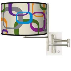 Tempo Retro Squares Scramble Plug-in Swing Arm Wall Light