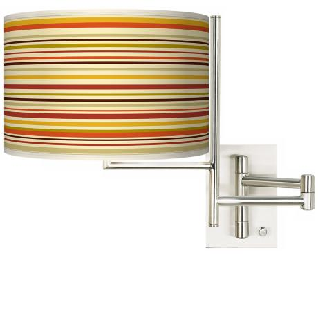 Stacy Garcia Tempo Lemongrass Stripe Plug-In Swing Arm Wall Light