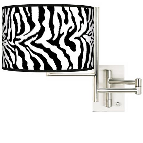 Safari Zebra Plug-In Swing Arm Wall Light