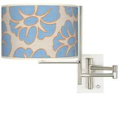 Floral Blue Silhouette Giclee Steel Plug-In Swing Arm Wall Light