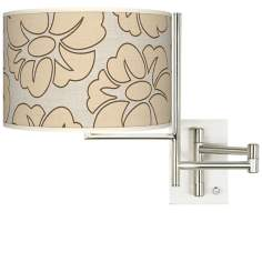 Floral Silhouette Giclee Steel Plug-In Swing Arm Wall Light
