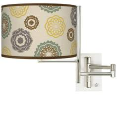 "8 1/2"" High Ornaments Linen Giclee Swing Arm Wall Light"