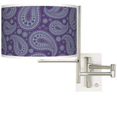 Purple Paisley Linen Giclee Steel Plug-In Swing Arm Wall Light