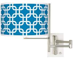 Blue Lattice Brushed Steel Plug-in Swing Arm Wall Lamp