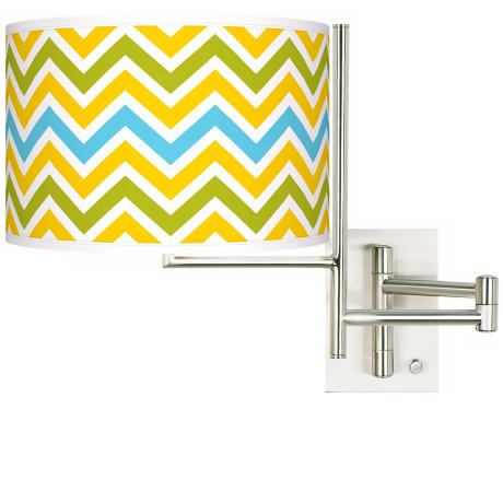 Citrus Zig Zag Brushed Steel Plug-in Swing Arm Wall Lamp