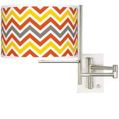 Flame Zig Zag Brushed Steel Plug-in Swing Arm Wall Lamp