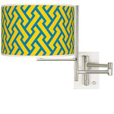 Yellow Brick Weave Brushed Steel Plug-in Swing Arm Wall Lamp