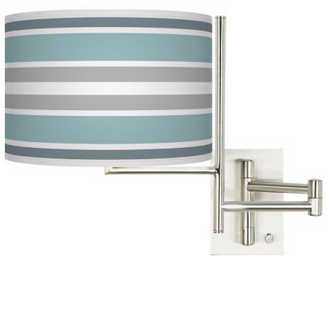Multi Color Stripes Brushed Steel Plug-in Swing Arm Wall Lamp