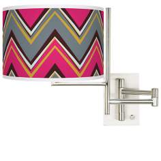 Stacy Garcia Chevron Pride Pink Plug-In Swing Arm Wall Light