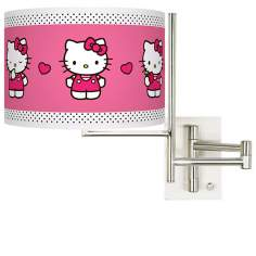 Hello Kitty Pink and Polka Dots Plug-In Swing Arm Wall Light