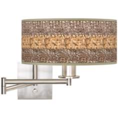 Woven Fundamentals Brushed Steel Plug-In Swing Arm Wall Light