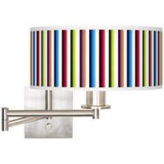 Technocolors Giclee Brushed Steel Plug-In Swing Arm Wall Light