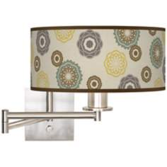 "5 1/2"" High Ornaments Linen Giclee Swing Arm Wall Light"