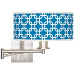 "Blue Lattice Brushed Steel 12"" Wide Drum Swing Arm Lamp"