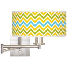 "Citrus Zig Zag Brushed Steel 12"" Wide Drum Swing Arm Lamp"