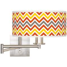 "Flame Zig Zag Brushed Steel 12"" Wide Drum Swing Arm Lamp"