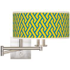 "Yellow Brick Weave 12"" Wide Drum Swing Arm Lamp"