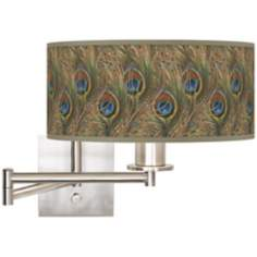 Iridescent Feather Brushed Steel Plug-In Swing Arm Wall Light