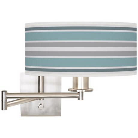 "Multi Color Stripes Brushed Steel 12"" Wide Swing Arm Lamp"