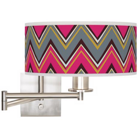 "Stacy Garcia Chevron Pride Pink 12"" Swing Arm Wall Light"