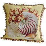 Coral Sea Shells Lemon Throw Pillow