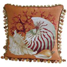 Coral Sea Shells Orange Throw Pillow