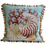 Coral Sea Shells Teal Throw Pillow
