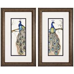 Set of Two Peacock I & II Framed Wall Art