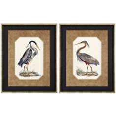 Set of 2 Blue and Purple Heron Prints Wall Art