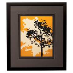 "Yellow Metal Trees A Framed 17"" High Wall Art"