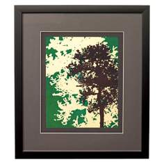 "Green Metal Trees B Framed 17"" High Wall Art"
