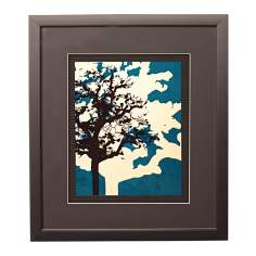 "Blue Metal Trees C Framed 17"" High Wall Art"