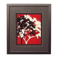 "Red Metal Trees D Framed 17"" High Wall Art"